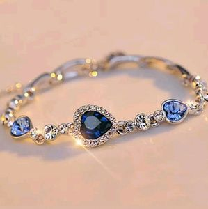 Blue Ocean heart and Silver Bangle Bracelet